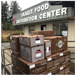 Community Action's Skagit Food Distribution Center gets large shipments of food to help families at every food bank in Skagit County. (Photo credit: Well Fed Farms, Erik Olson)